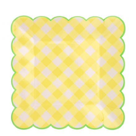 Yellow Gingham Paper Party Plates - Large